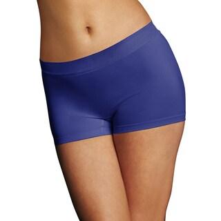 Maidenform Women's Pure Genius Blue Nylon, Polyester, Spandex Seamless Boyshort