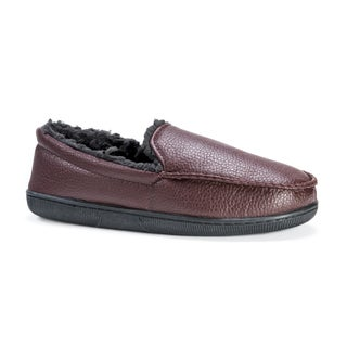 Muk Luks Men's Moccasin Brown Polyester and Polyurethane Slippers