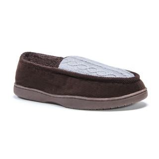 Muk Luks Men's Henry Brown Cotton/Polyester/Corduroy Slippers