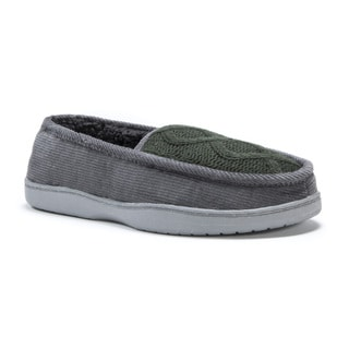 Muk Luks Men's Henry Grey Cotton/Polyester/Corduroy Slippers