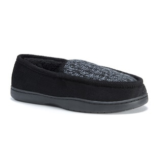 Muk Luks Men's Henry Black Cotton/Polyester Corduroy Slippers