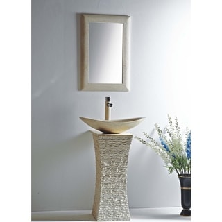 Milan Galala Marble 24-inch Vessel Bowl Sink and Stone Pedistal Set