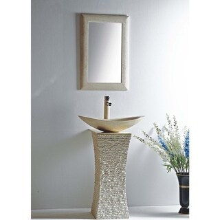 Milan Galala Marble 24-inch Vessel Bowl Sink and Stone Pedestal Set