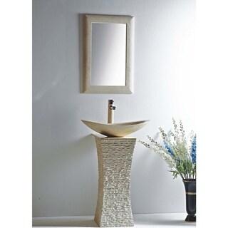 Milan Galala Marble 24-inch Vessel Bowl Sink and Stone Pedestal Set