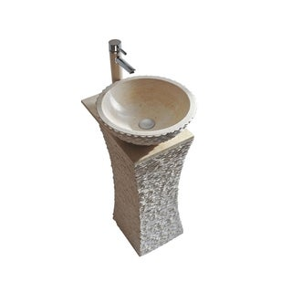 Olympia 20-inch Vessel Bowl Sink Galala Marble Stone Pedestal Set