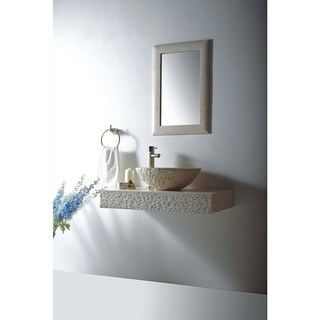 MTD Vanities Rome Natural Beige Galala Marble Stone 36-inch Wall Mount Single Vessel Sink Vanity Set