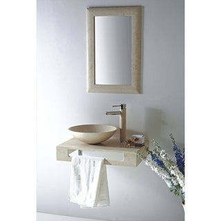 MTD Vanities Rome Natural Beige Galala Marble/Stone/Chrome 22-inch Single Vessel Sink Wall Mount Vanity