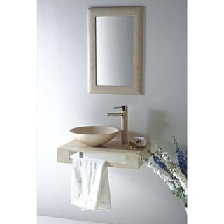 MTD Vanities Rome Natural Beige Galala Marble/Stone/Chrome 22-inch Single Vessel Sink Wall Mount Vanity Set