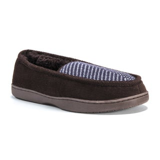 Muk Luks Men's Henry Brown Cotton, Polyester, and Corduroy Slippers