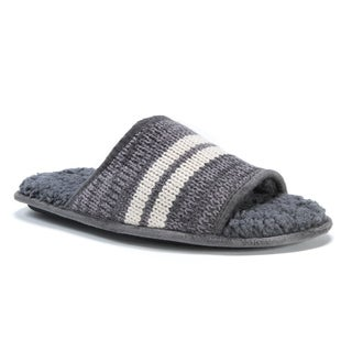 MUK LUKS Men's Andy Grey Acrylic and Polyester Slippers