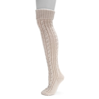 Muk Luks Women's Pink Acrylic Cable Knit Over-the-Knee Socks