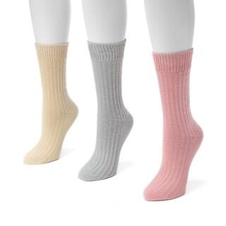 Muk Luks Women's Polyester and Nylon Waffle Boot Socks (Pack of 3 Pairs)