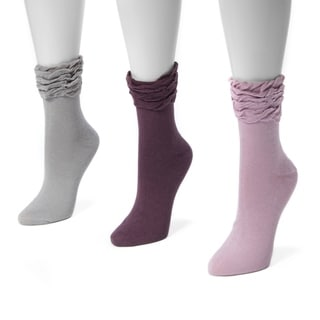 Muk Luks Women's Multicolor Polyester/Spandex Ruffle Boot Socks (Pack of 3 Pairs)