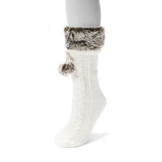 Muk Luks Women's White Acrylic/Polyester Faux Fur Cuffed Socks with Poms (1-pair)