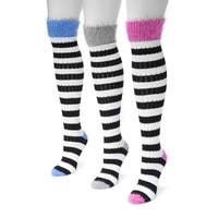 Muk Luks Women's Pointelle Multicolor Nylon/Spandex Stripe Knee High Socks (Pack of 3 Pairs)