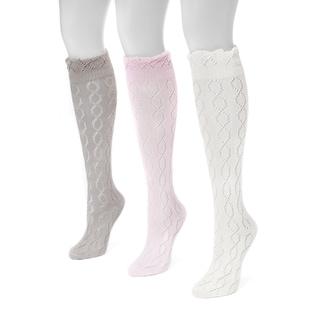 Muk Luks Women's Pointelle Knee-high Socks (3-pair Pack)