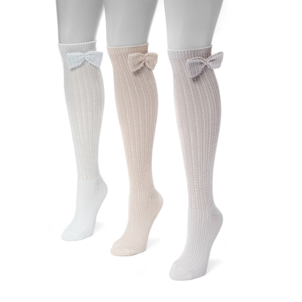 f760a141f92 Muk Luks Women  x27 s Nylon and Spandex Pointelle Bow Knee High Socks (