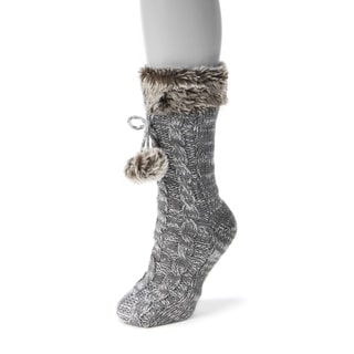 Muk Luks Women's Solid Grey Acrylic/Polyester/Faux Fur-Cuffed Socks Pair With Poms