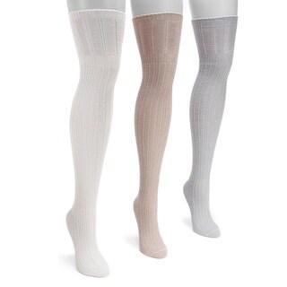 Muk Luks Women's Open Pointelle Multicolor Nylon/Spandex Over-the-knee Socks (Pack of 3 Pairs)