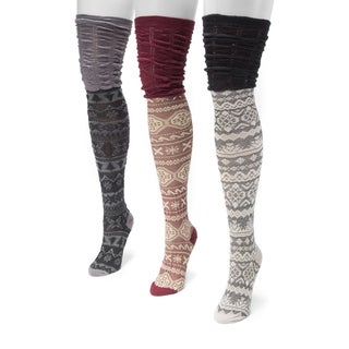 Muk Luks Women's 3-pair Pack Microfiber Over the Knee Socks