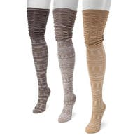 Muk Luks Women's Brown Nylon/Spandex Microfiber Over-the-knee Socks (Pack of 3 Pairs)