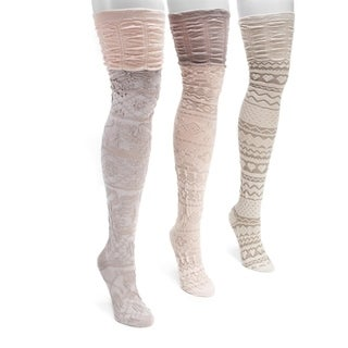MUK LUKS Women's Nylon Spandex 3-Pair Pack Over-the-Knee Socks