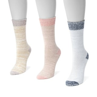 Muk Luks Women's Multicolor Polyester Microfiber Boots Socks (Pack of Three Pairs)