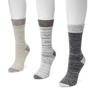 Muk Luks Women's Multicolored Microfiber Boot Socks (Pack of 3)