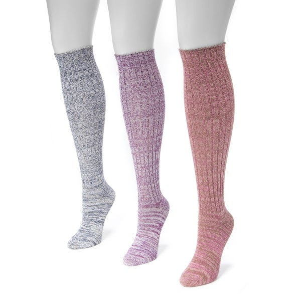71fc8fb642d Shop Muk Luks Women s Marl Multicolor Nylon Spandex Knee-high Socks (Pack of  3 Pairs) - Free Shipping On Orders Over  45 - Overstock - 12136304
