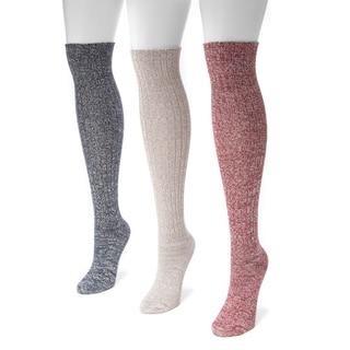 MUK LUKS Women's Nylon Spandex 3-Pair Pack Marl Knee High Socks