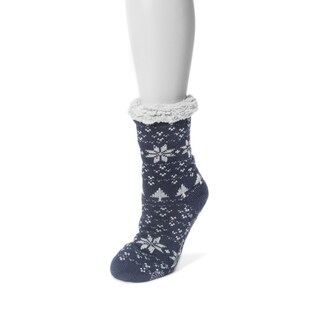 Muk Luks Women's Blue Polyester Fluffy Cabin Socks