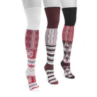 MUK LUKS Women's 3 Pair Pack Lodge Over the Knee Socks