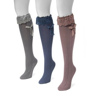 Muk Luks Women's Multicolor Nylon/Spandex Lacey Bow Knee High Socks (Pack of 3 Pairs)