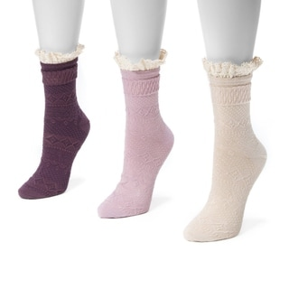 MUK LUKS Women's Lace Top Boot Socks (3-pair pack)