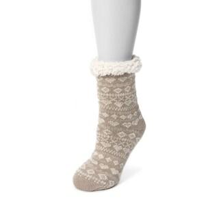 Muk Luks Women's Tan Acrylic/Polyester Cabin Socks