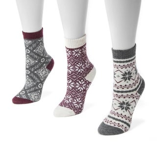 Muk Luks Women's 3-pair Pack Holiday Boot Socks