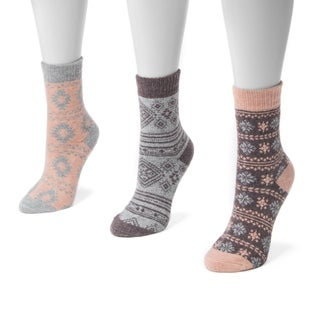MUK LUKS Women's Holiday Boot Socks (Pack of 3 Pairs)