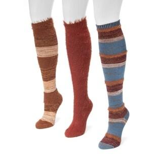 Muk Luks Women's Fuzzy Yarn Knee High Socks 3-pair Pack