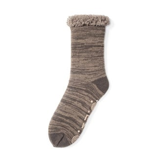 Muk Luks Men's Brown Acrylic/Polyester Cabin Socks