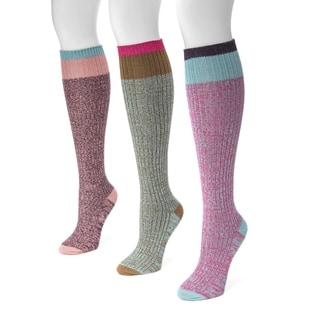 MUK LUKS Women's Nylon Spandex 3-pair Pack Color Block Knee-high Socks