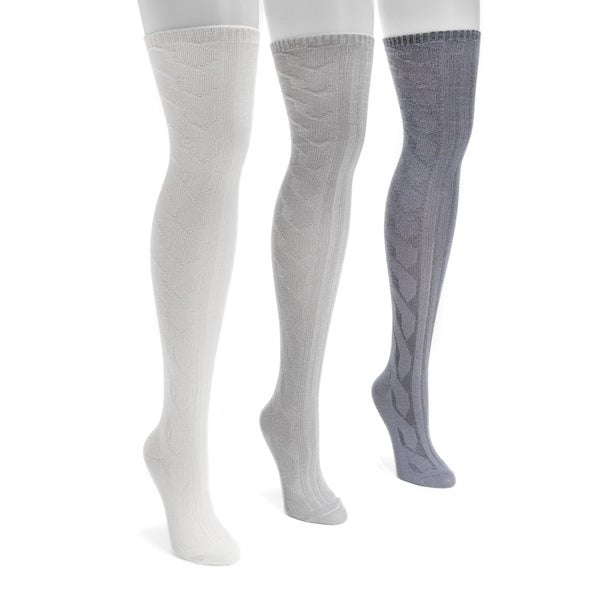 994d04884 Shop Muk Luks Women's Three-pair Pack Cable Knit Over-the-knee Socks - Free  Shipping On Orders Over $45 - Overstock - 12136344