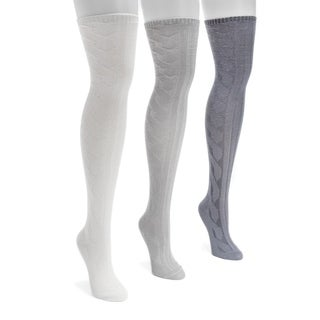 Muk Luks Women's Three-pair Pack Cable Knit Over-the-knee Socks