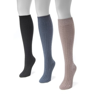 Muk Luks Women's Multicolored Nylon and Spandex Cable Knee-high Socks (Pack of 3 Pairs)