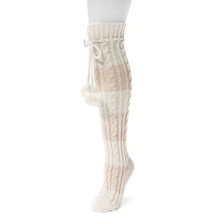MUK LUKS Women's Pink Acrylic Knee-high Cable Socks