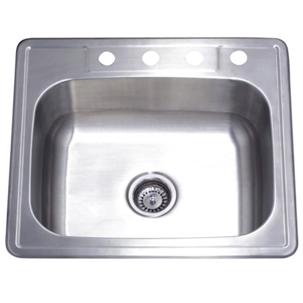 Shop Single Bowl Self-rimming 25-inch Stainless Steel Kitchen Sink ...
