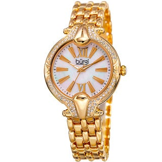 Burgi Women's Quartz Swarovski Crystal Easy-to-Read Gold-Tone Bracelet Watch