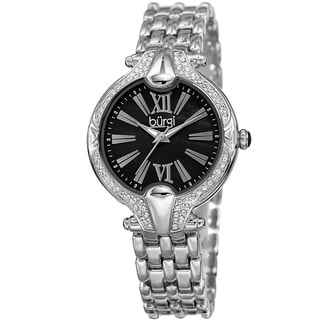 Burgi Women's Quartz Swarovski Crystal Easy-to-Read Silver-Tone Bracelet Watch