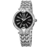Burgi Women's Quartz Swarovski Elements Crystal Easy-to-Read Silver-Tone Bracelet Watch