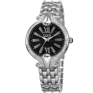 Burgi Women's Quartz Swarovski Elements Crystal Easy-to-Read Silver-Tone Bracelet Watch