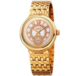 Burgi Women's Quartz Swarovski Crystal Stainless Steel Gold-Tone Bracelet Watch with FREE Bangle